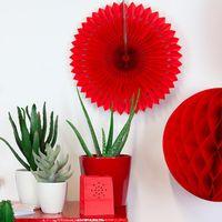 Rosace papier 30 cm Rouge