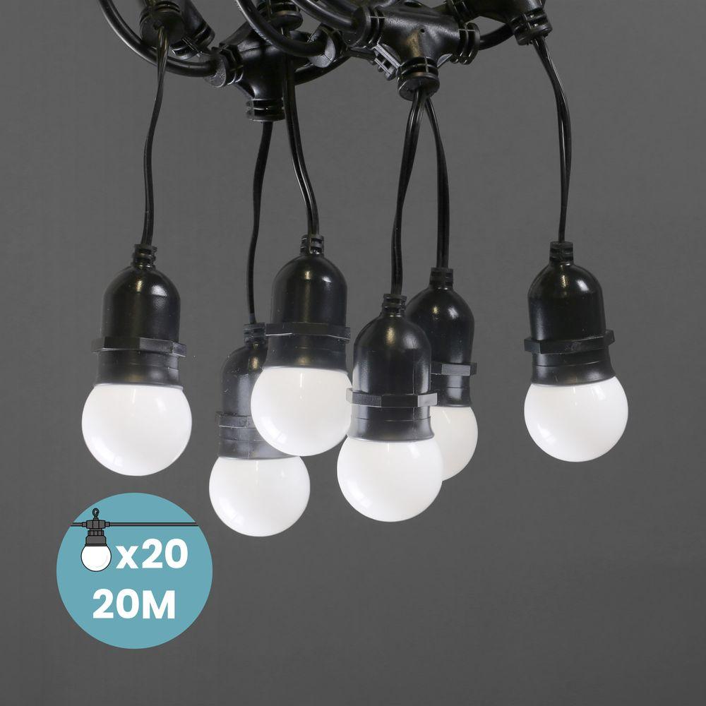Guirlande Guinguette Pendante Ampoules Remplaçables Blanche 20 m