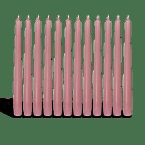 Pack de 12 chandelles Vieux Rose 2,3x25cm