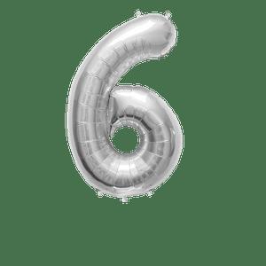 Ballon Chiffre 6 Argent 90 cm