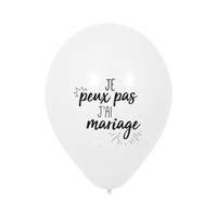 """Ballon Mariage """"Je peux pas j'ai mariage"""" Blanc"""