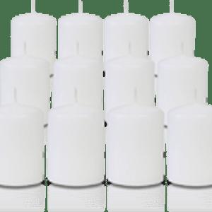 Pack de 12 bougies votives Blanches 5x7cm