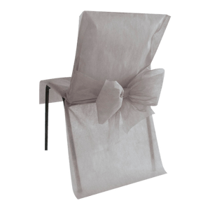Housse de Chaise avec nœud Gris x10