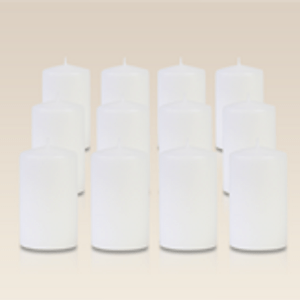 Pack de 12 bougies cylindres Blanches 6x10cm