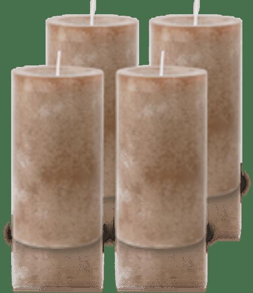 Pack de 4 Bougies Marbrées Taupe 13x7cm