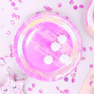 Assiette Opalescent Carton Rose x6