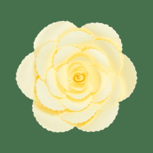 Fleur En Papier Rose Ancienne Jaune Pâle 30 cm