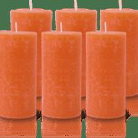 Pack de 6 Bougies Rustiques Orange 14x7cm