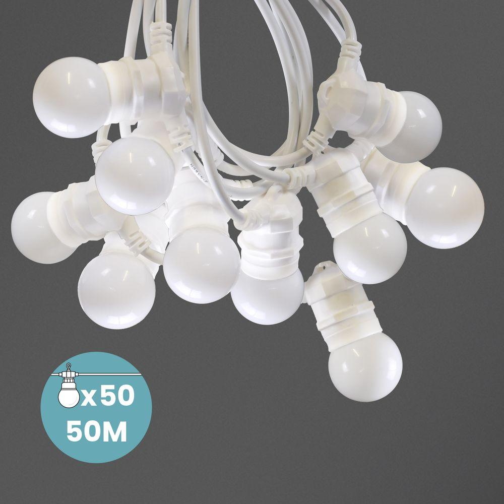 Kit Guirlande Guinguette 50m IP 65 Cable Blanc Blanche