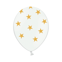 Ballon Latex Etoiles Blanc et Or
