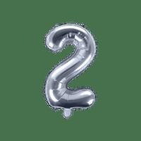 Ballon Chiffre 2 Argent 35 cm