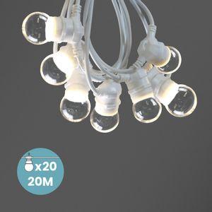 Kit Guirlande Guinguette 20m IP 65 Cable Blanc BulbesTransparents