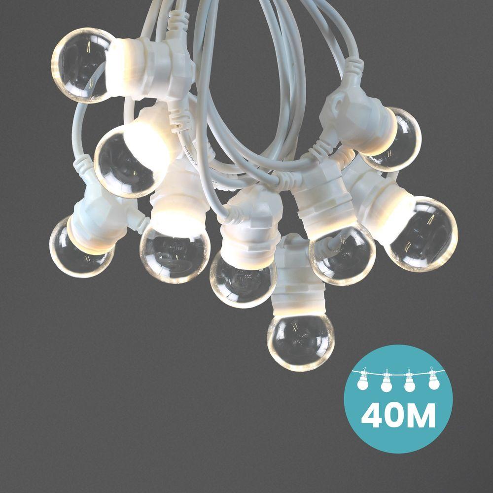 Kit Guirlande Guinguette 40m IP 65 Cable Blanc Bulbes Transparents
