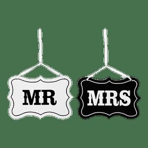 Panneaux Mr and Mrs Noir et Blanc 20,5cm