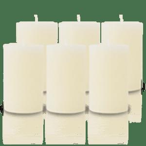 Pack de 6 Bougies Rustiques Ivoire 11x7cm