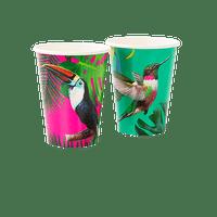 Gobelet carton tropical toucan et colibri x12