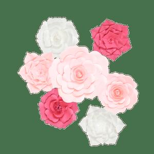 Kit Fleurs En Papier Pur Rose x7