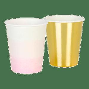 Gobelet carton or et rose pastel x12