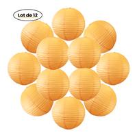 12x Lanterne Papier 30 cm Orange - Suspension Boule Papier 30 cm (12'') type Lanterne Japonaise pour Decoration Mariage - 12 pièces - Le must de la Gamme de Lampions Papier - Notice en Français.