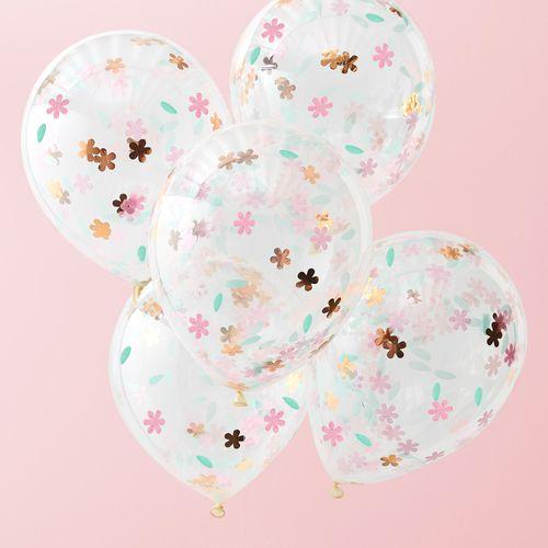 Ballon Transparent avec Confettis Fleur Multicolores x5