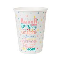 Gobelet Carton Bonheur Blanc x10