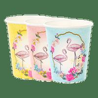 Gobelet Papier flamant rose multicouleur x12