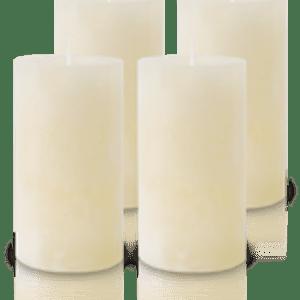 Pack de 4 Bougies Marbrées Ivoire 13x7cm