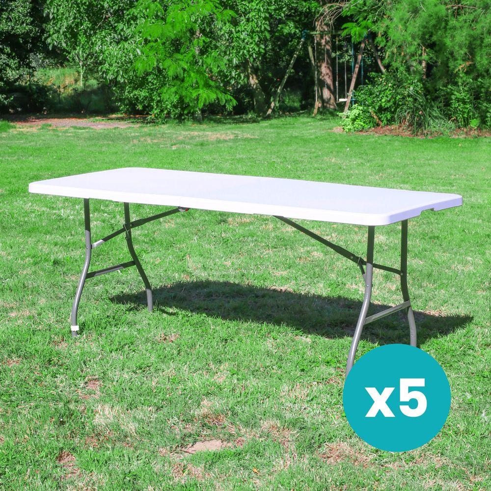 Lot de 5 Tables de Jardin Pliantes 180x74 cm Blanc