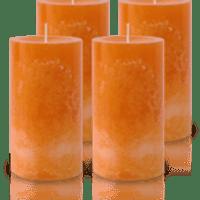 Pack de 4 Bougies Marbrées Orange 13x7cm