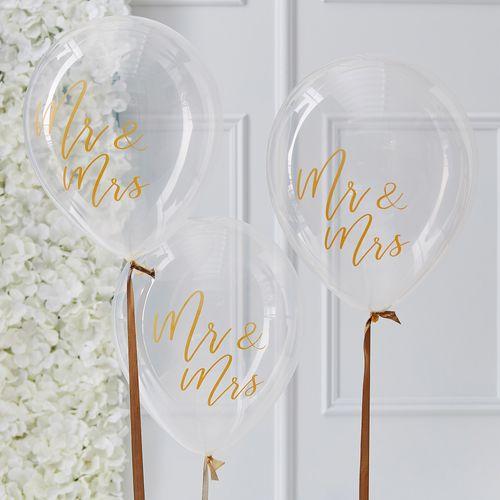 Ballon Latex Transparent Motif Or Mr & Mrs x5