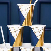 Gobelet Carton Géométrique Bleu Navy x6