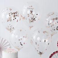 Ballons Confettis Rose Gold x5