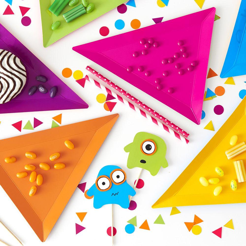 Assiette Carton Géométrique Multicolore x6