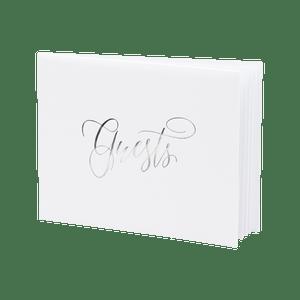 Livre D'Or Guest Book Blanc et Argent 18,5 cm