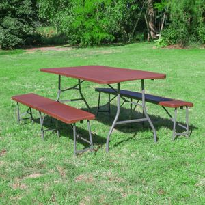 Lot 1 Table Pliante et 2 bancs 180 cm Marron Effet Rotin